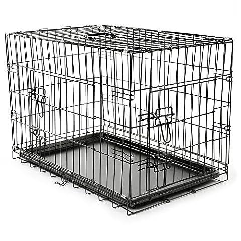TRESKO® Cage de transport pliable pour Chiens, Chats, Chiots, Chatons et Animaux domestique, Caisse de transport en métal, Cage chien, Caisse de transport pour la voiture, Bac en plastique amovible, Cages à lapin, Cages pour rongeurs, Cabane à lapins, Lapinière, Cage à oiseaux, Cage à perroquets, noir, 2 portes, pliable 75 x 46 x 51 cm