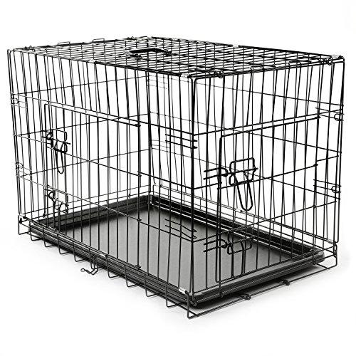 TRESKO® Transportkäfig Hundebox für Hunde, Katzen, Welpen und Haustiere in Verschiedenen Größen, Drahtkäfig, Hundekäfig, Auto-Transportbox, schwarz, mit 2 Türen, faltbar M (75cm x 46cm x 51cm)
