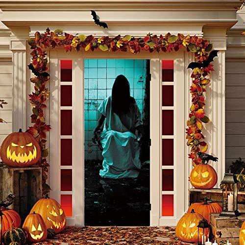 ZLCOM Langes Haar Frau Geist 3D Tür Aufkleber Abnehmbare wasserdichte Scary Effect Halloween Wandkunst Aufkleber Drop Shipping Gute Qualität 77 * 200 cm (Spiele Geist Halloween Scary)