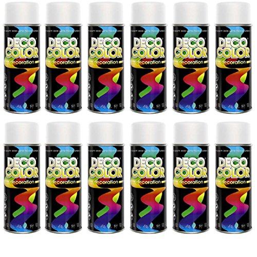 12er Sparpack DC Lackspray glänzend 400ml nach RAL freie Farbauswahl (12 Dosen in weiss matt RAL 9010)