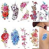 ROSENICE tatuaje temporal del tatuaje 9 hojas mariposa flores de cerezo para las mujeres