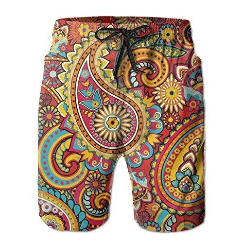 ZMYGH Floral Paisley Pattern Men's/Boys Casual Quick-Drying Bath Suits Elastic Waist Beach Pants with Pockets X-Large M Paisley Boys Band