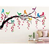 Heaven Decors PVC Vinyl Tree With Hanging Vine And Flower Wall Sticker, 43.3 x 0.39 x 23.62 inches, Multicolour
