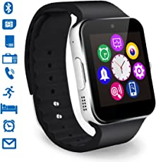Smartwatch, CHEREEKI Bluetooth Smart Watch con Camera Orologio Intelligente con Macchina Fotografica SIM / TF Card Slot Schermo Touch Contapassi per Smartphone Android Samsung Huawei Honor HTC LG Sony (Argento)