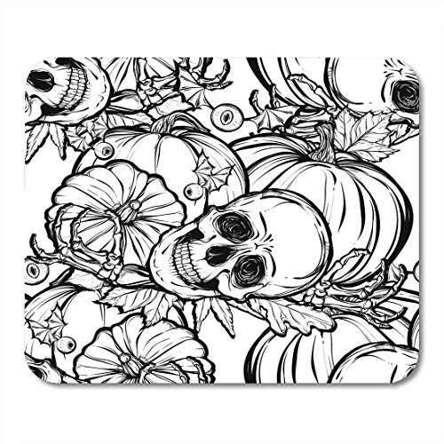 pad-Matte, Bat Black Abstract Halloween Skull Leaves Pumpkin Prints on White Tattoos Autumn Cartoon Mouse Pad ()