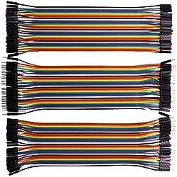 Kuman 120pcs Cables de Puente para Arduino Raspberry Pi 40pin Macho a Hembra, 40pin Macho a Macho, 40pin Hembra a Hembra Kit de Jumper Wires Ribbon Cables K45