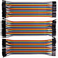 Kuman 120pcs Multicolored 40pin Male to Female, 40pin maschio-maschio, 40pin femmina to femmina Breadboard Jumper Wires Ribbon Cables Kit pack K45