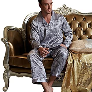 Amybria Herren Qualitäts Seide Pyjamas Zwei Stück Top Hosen Grau Silber Farbe Größe XL/42