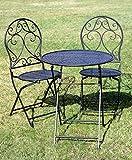 condecoro Sitzgarnitur Nostalgie Bistro de Paris 1 Tisch und 2 Stühle Shabby Landhaus Metall Garten Garnitur