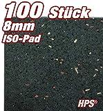 HPS® 100 Stück 8mm - Gummipad 10x5cm, Terrassenpad, Gummigranulat, für den Terrassenbau. Diffusionsoffene Gummimischung verhindert Staunäße, als Unterlage für Unterkonstruktionen im Terrassenbau und sonstige Anwendungen