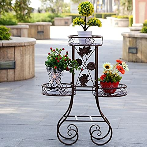 Continental Three-Layer ferro piano piante verdi Flower Stand Soggiorno Balcone Terrazza coperta e scoperta carnoso (Stand Livello Ferro Battuto Impianti)
