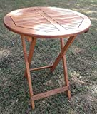 forestfox Outdoor Folding Drinks Table. Hard Wood. 75 Height 60cm Diameter. Patio Garden.