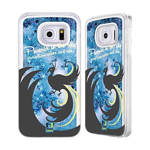 Head Case Designs Unicorno Paradiso Mitico Custodia Cover con Glitter Liquidi Blu Cielo per Apple iPhone 5c Fenice