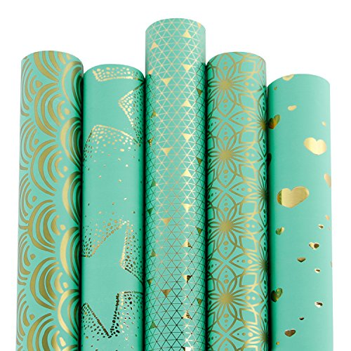 RUSPEPA 5 Rolle Geschenk Wrapping Paper Roll - Mint Und Gold Folie Muster - 76Cm X 305Cm Pro Rolle