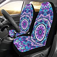 Plsdx Ancient Mandala Trible Geometric Custom New Universal Fit Auto Drive Car Seat Covers Protector For Women Automobile Jeep Truck Suv Vehicle Full Set Accessories For Adult Baby (set Of 2 Front)