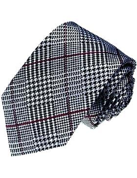 Lorenzo Cana–Negro Blanco Rojo Cuadros 100% seda corbata–Cuadros marcas Diseño corbata–36050