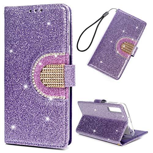WaackGG für Samsung Galaxy A7/A750 Glitzer Hülle Leder Flip Case Tasche Wallet Handyhülle Leder Bookstyle Brieftasche Schutzhülle Handytasche Magnetisch Mehr Kartenfach Ständer Etui Spiegel Lila