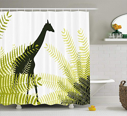 LongTrade Africa Shower Curtain Duschvorhang Silhouette of Giraffe Ferns National Park Terrestrial Tall Animal Print, Fabric Bathroom Decor Set with Hooks Pale Green 72x72 inch