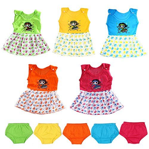 VINAB Cotton Baby Girl's Frock Set (TN835Pcs_12-18 Months) - Pack of 5