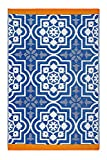 Fab Hab - Puebla - Blau - Teppich/ Matte für den Innen- und Außenbereich (90 cm x 150 cm)