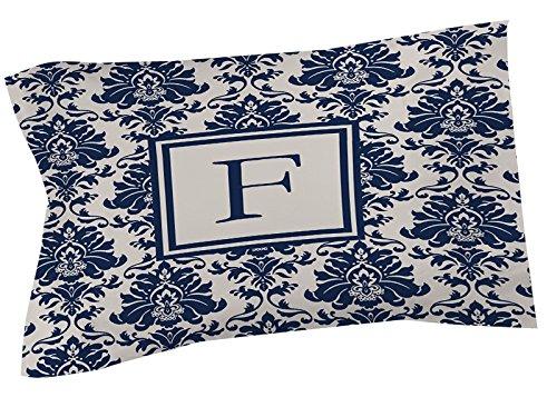 Manuelle holzverarbeiter & Weavers Kissen Sham, King, Monogramm Buchstabe F, Damast blau (King-size-bett Gerahmt)