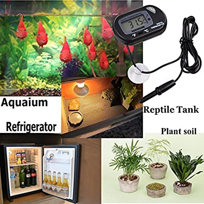 Jespeker Aquarium Thermometers Digital Fish Tank Water LCD Black with Suction Cup for Measuring Pond Marine Temperature 2