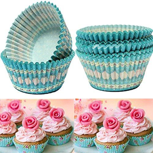 Bazaar 100pcs Blue Dot Liner Cupcake Muffin Backpapier Dessert Cup - Dots Cupcake Liner