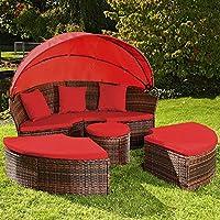 Canapé de jardin rond modulable en résine tressée marron, 5 coloris (Rouge)