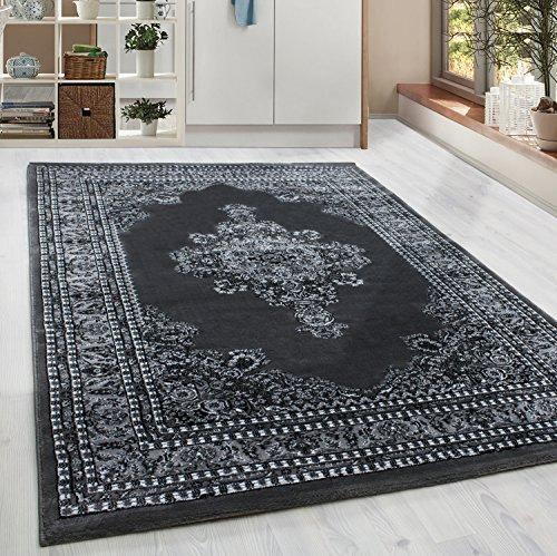 Homebyhome classico orientale tappeto design con bordo nero grigio bianco screziato soggiorno camera corridoio cucina senza frange 6misure, 120 x 170 cm