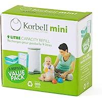 Korbell - Cestino di ricarica - MINI - Biodegradabile - Controllo degli odori - Capacità di 130 strati 9L - 130 strati