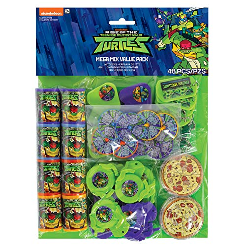 Amscan 3900693 Masken für Kinder, Motiv: The Rise of Teenage Mutant Ninja Turtles, 48 Stück ()