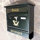 Großer Briefkasten / Postkasten XXL Grün mit Zeitungsrolle Schrägdach Trapezdach