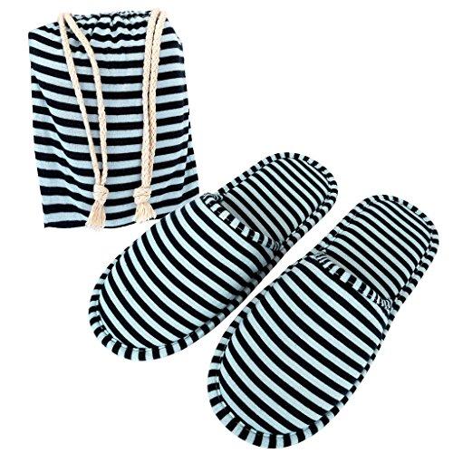 Mangostyle 2 paia set pantofole da viaggio con sacchetti di stoccaggio ciabatte portatile pieghevole antiscivolo unisex misura unica in morbida spugna di cotone 2pcs - grigio+nero