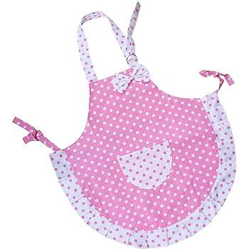 Children-Child Kids Baking Party 2 Layers Cloth Polka Dots Princess Apron Girls