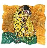 Prettystern P582 90cm quadratisch großes Hals-Tuch Kunst-Druck Jugendstil 100% Seide Tuch - Gustav Klimt - Der Kuss/Braun