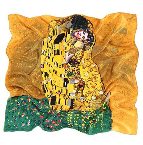 Prettystern P582 90 Stampa Artistica Panno Pittura Art Nouveau Sciarpa di Seta Fazzoletti da testa Gustav Klimt Bacio/Marrone