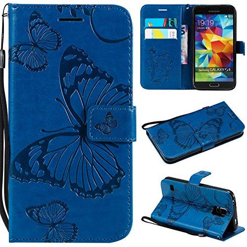 Cozy Hut Samsung Galaxy S5 Handyhülle,[Premium Leder Schmetterling Muster] [Standfunktion] [Kartenfach] [Magnetverschluss] Leder Brieftasche für Samsung Galaxy S5 - Blauer Schmetterling