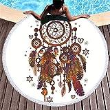 Dream Catcher redondas Toalla de playa atrapasueños plumas india Mandala playa Tapestry Hippie de y boho
