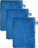 Kinderbutt Waschhandschuh 3er-Pack Frottee blau Größe 15x21 cm