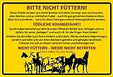 Schatzmix Bitte Nicht füttern! Pferd stall Gelbe Warnschild blechschild