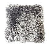 Genuine Mongolian Sheepskin Cushion Pillowcase 40x40cm (big variety of colours) JAY33 colour dark grey (Tops)