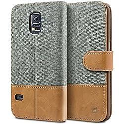 BEZ Coque pour SamsungGalaxyS5, Etui Samsung Galaxy S5 / S5 Neo Housse en Cuir Textile Flip Case Portefeuille à Rabat avec Porte-Cartes de Crédit, Fermeture Magnétique - Gris