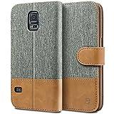 BEZ® Hülle für Samsung Galaxy S5 Handyhülle, Handytasche Schutzhülle Kompatibel für Samsung Galaxy S5 / S5 Neo Hülle, Tasche [Stoff und PU Leder] mit Kreditkartenhaltern - Grau