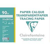Clairefontaine 97853C - Pochette carta da ricalco 12 fogli 21x29.7 cm 90/95g