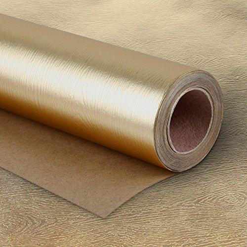 RUSPEPA Geschenkpapierrolle - Premium Eco-Friendly Holzmaserung Basics - Glossy Gold Für Geburtstag, Urlaub, Hochzeit, Wrap - 76 X 500CM