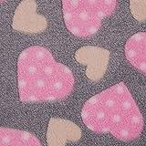0,5m Micro-Fleece Herzen grau-rosa Meterware 100% Polyester