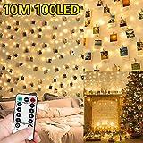 WEARXI Luci Led per Clip Foto - 10M 100 LED Impermeabile 8 Modalità Lucine per Polaroid Led Decorative Interno per Camere, Porta Foto Mollette