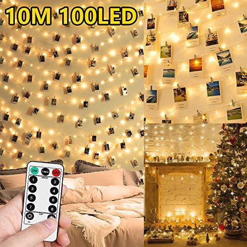 WEARXI Lichterketten für Zimmer Dekoration - 10M 100 LED Fotoclips Lichterkette mit Klammern für Fotos, Wasserdicht 8 Modi Foto Lichterkette Bilderrahmen, collagen, Haus, Weihnachten, Hochzeit