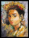 TAMARA ARTEFACTS - WALL ART: OIL PAINTING IN TEXTURED STYLE OF A BALINESE LADY. IMPORTED. UNFRAMED. SIZE: L 30 H 40 W 0.1 CM.
