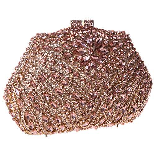 Damen Clutch Abendtasche Handtasche Geldbörse Glitzertasche Strass Kristall Irregulär Tasche mit wechselbare Trageketten von Santimon(2 Kolorit) Gelb